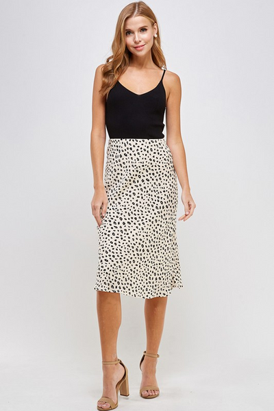 Leopard Dot Midi Skirt