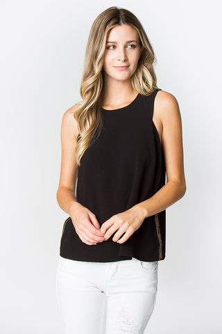 Embellished Black Tank Top