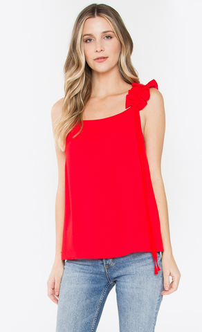 Ruffle Cami in Red