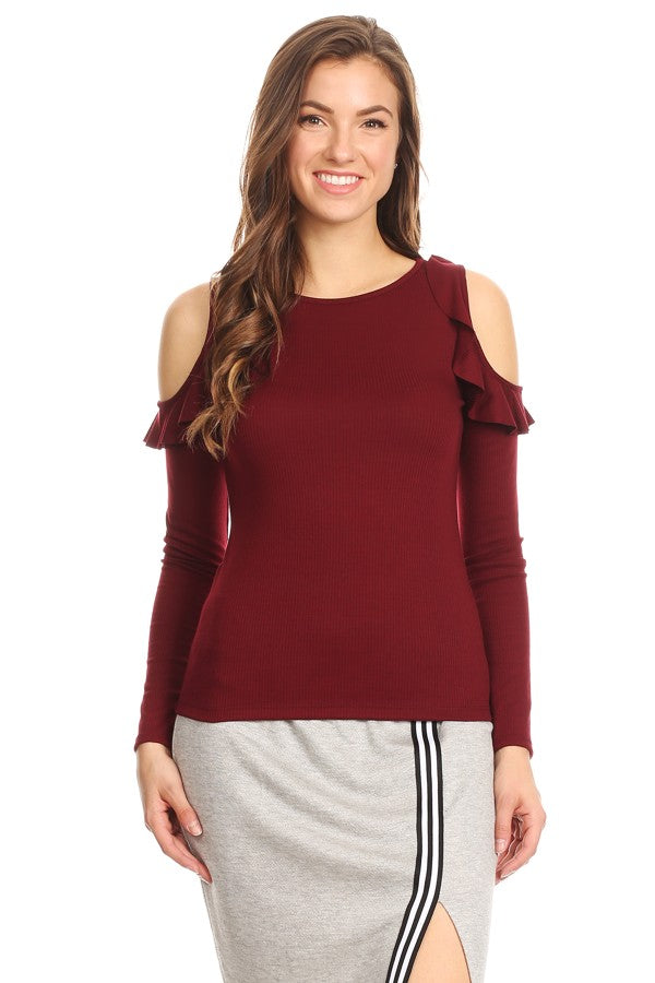 Cold Shoulder Ruffle Burgundy Top