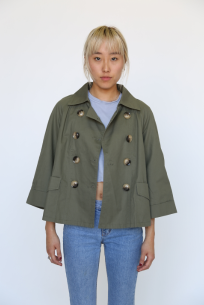 Cropped Green Trench Coat