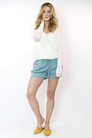 Sea Foam Drawstring Shorts