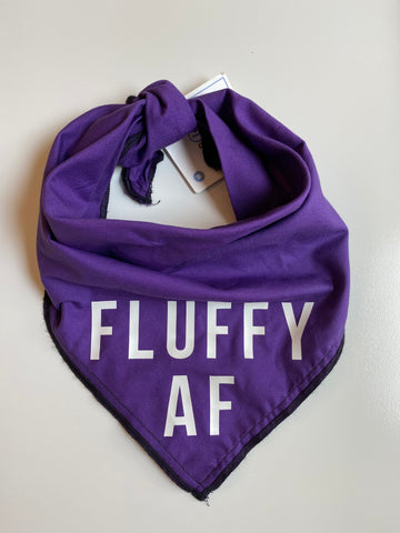 Fluffy AF Dog Bandanna Purple