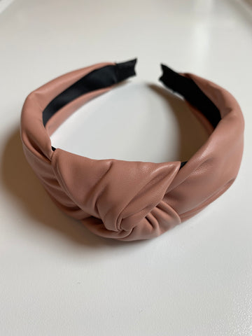 Pink Faux Leather Knotted Headband