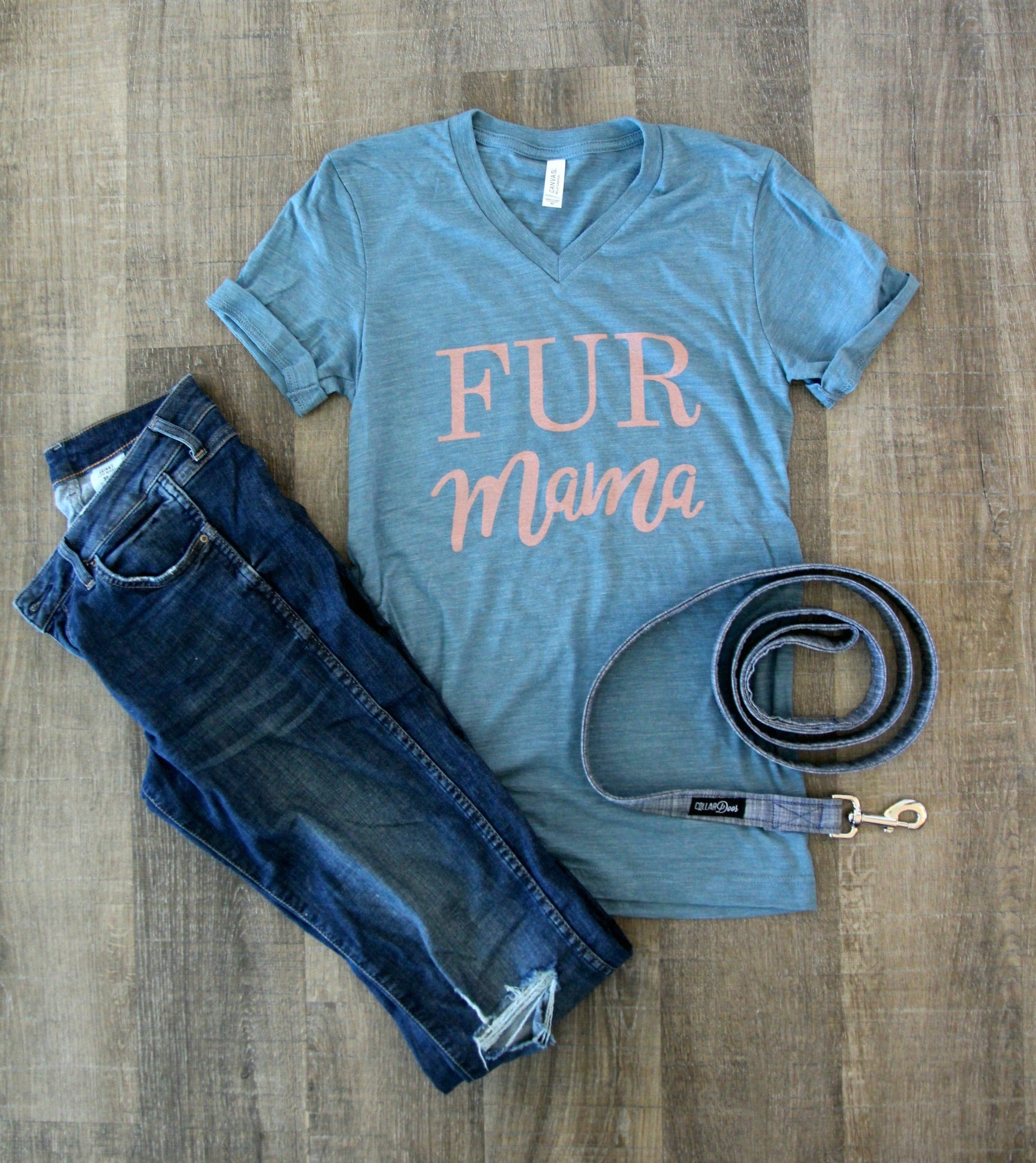 Fur Mama Blue V-Neck Top