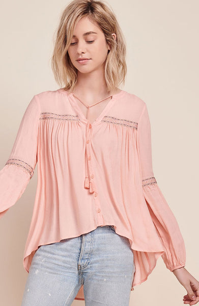 Coral Peasant Top with Tie-Neck