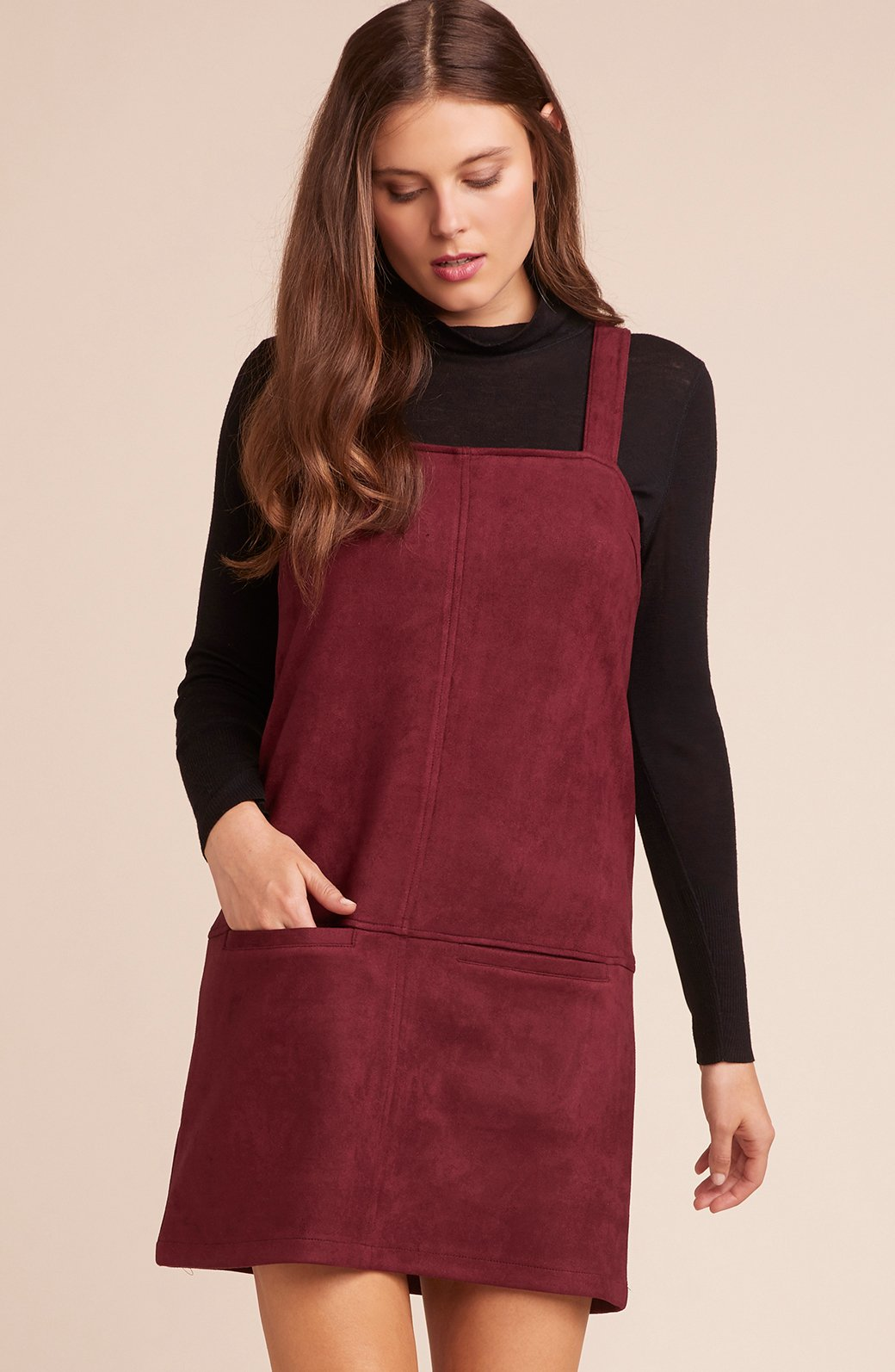 Vegan Suede Dress in Cranberry