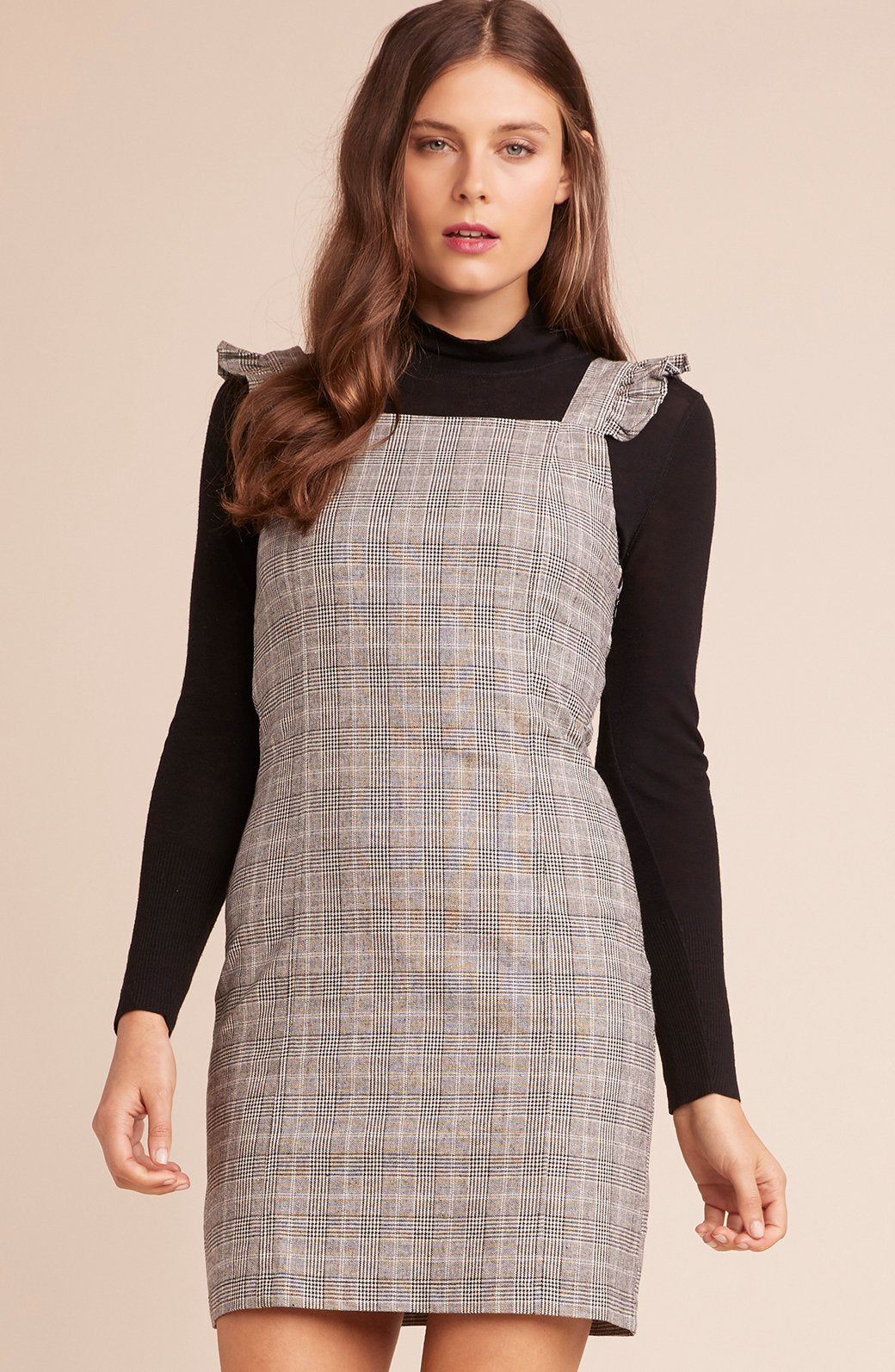 Plaid Dress with Ruffle Strap