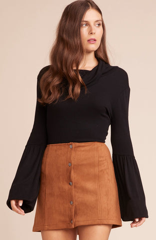Camel Button Front Skirt