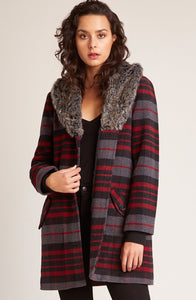 Plaid Coat with Faux Fur Collar