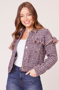 Plaid Jacket with Ruffle