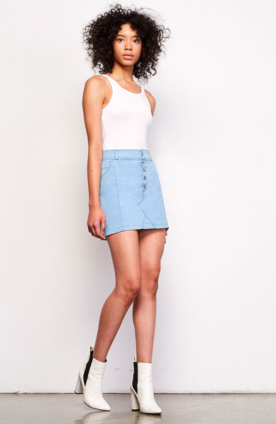 Button Front Chambray Mini Skirt