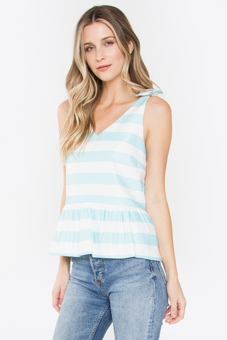 Peplum Mint Stripe Top