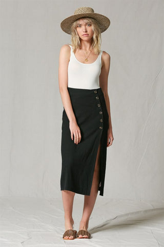 Side Button Long Skirt