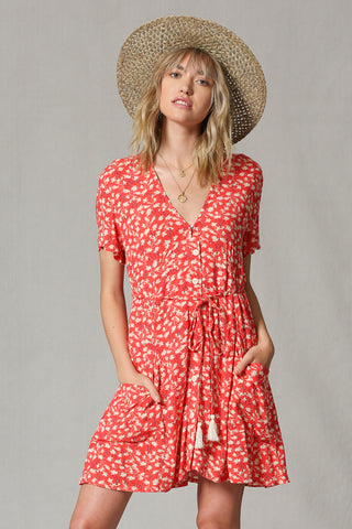 Coral Red Floral Dress