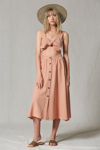 Button Front Salmon Midi Skirt