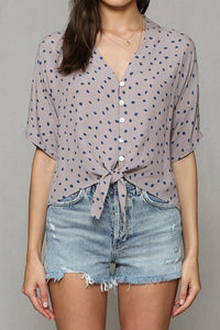 Button Front Polka Dot Top Grey