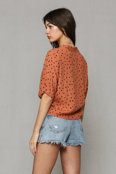 Button Front Polka Dot Top Rust
