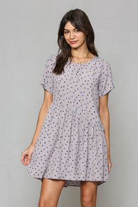 Polka Dot Baby Doll Dress in Grey