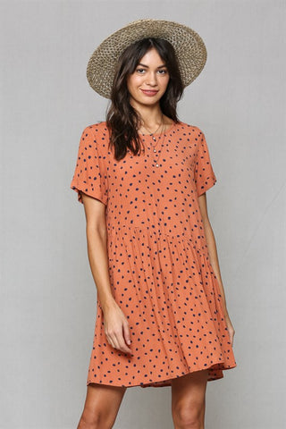 Polka Dot Baby Doll Dress in Rust