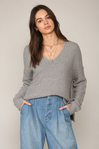 V-Neck Knit Sweater Grey