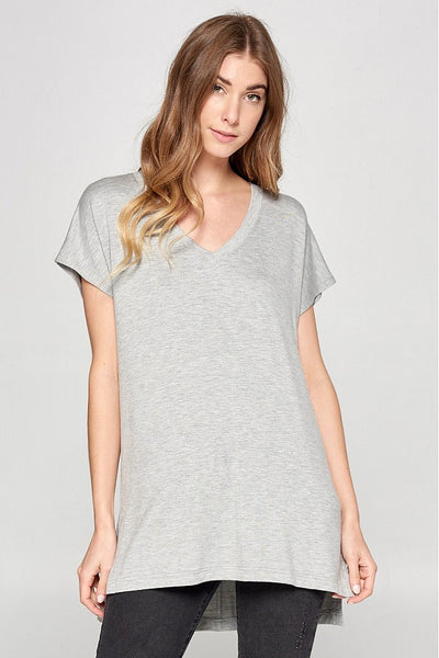 Everyday Butter Soft Grey V-Neck Tee