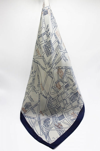 Paris Map Print Scarf Blue