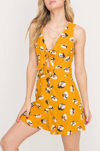 Mustard Floral Button Front Romper