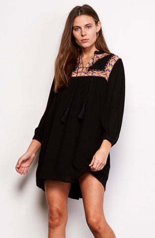 Embroidered Dress with Tassels