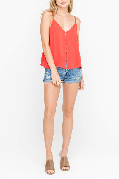 Red Cropped Button Down Tank Top