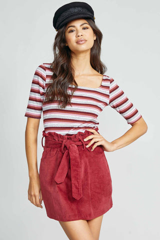 Red Tie-Waist Corduroy Skirt