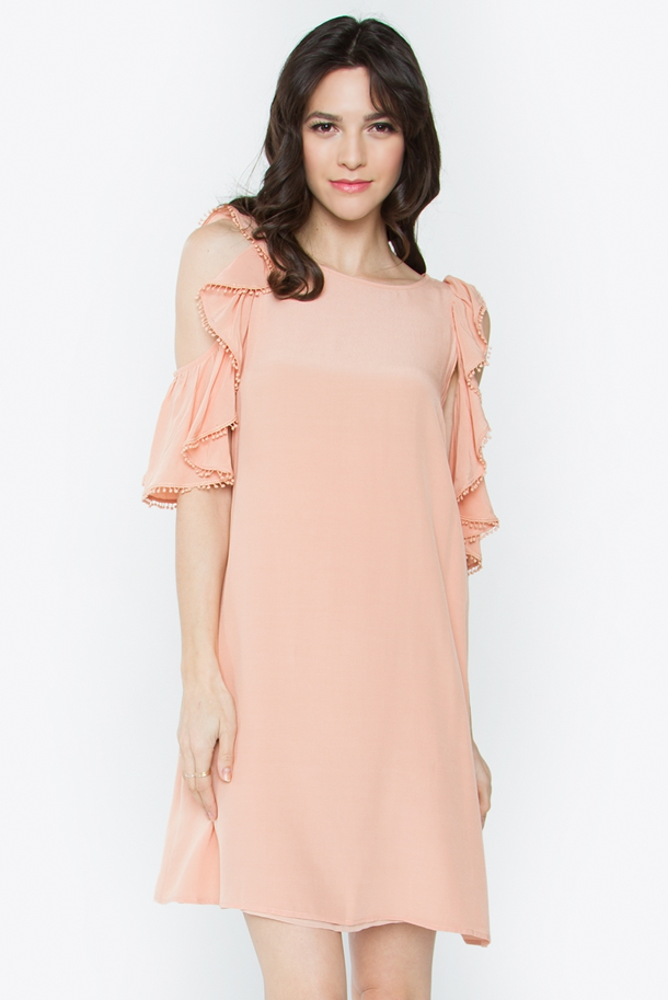 Cold Shoulder Dress Peach