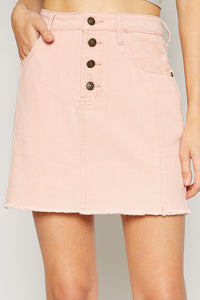 Salmon Button-Front Denim Skirt