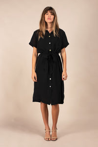 Belted Dress with Buttons
