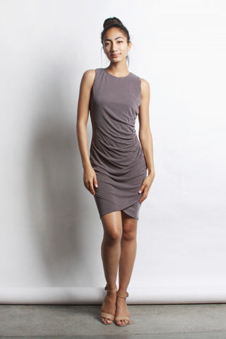 Trina Dusty Plum Ruched Dress