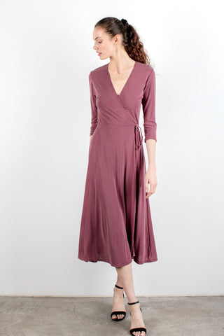 Midi Wrap Dress Burgundy