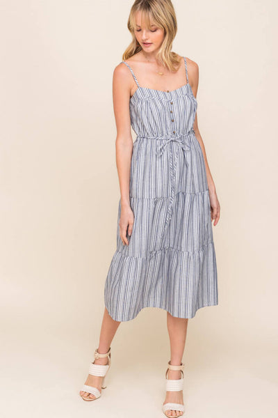 Blue Striped Tiered Dress