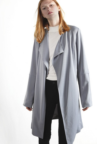 Draped Trench Coat in Dusty Blue