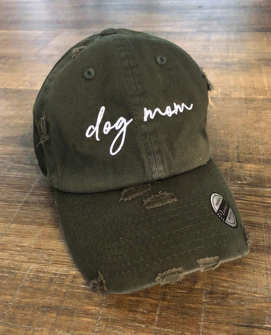 Dog Mom Hat Olive