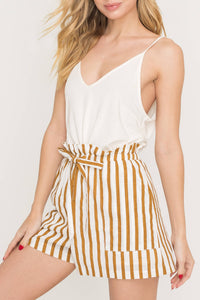 Brown Stripe Paper Bag Shorts
