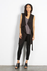 Julie Black Long Vest