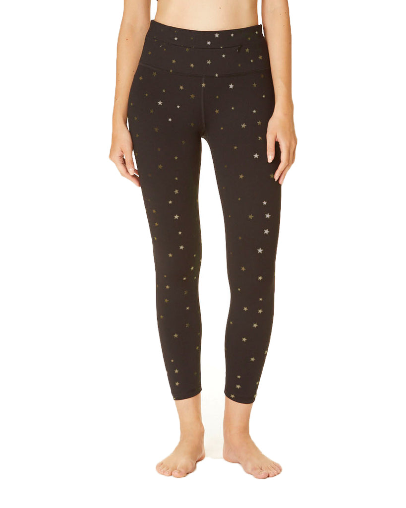 Metallic Star Printed 7/8th Pant - High Waist