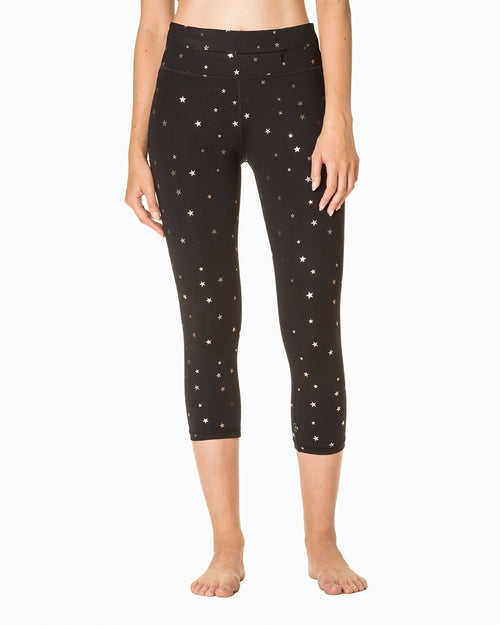 Metallic Star Print Crop - High Waist - Nancy Rose Performance