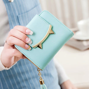 Feline Fangs Leather Trifold Slim Wallet