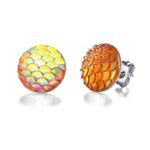 Mermaid Scale Stud Earrings