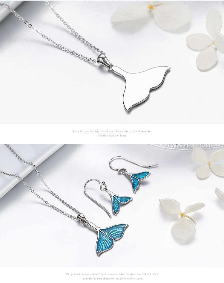 Silver Mermaid Fin Necklace and Earring Set