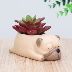 Sleepy Pug Dog Planter
