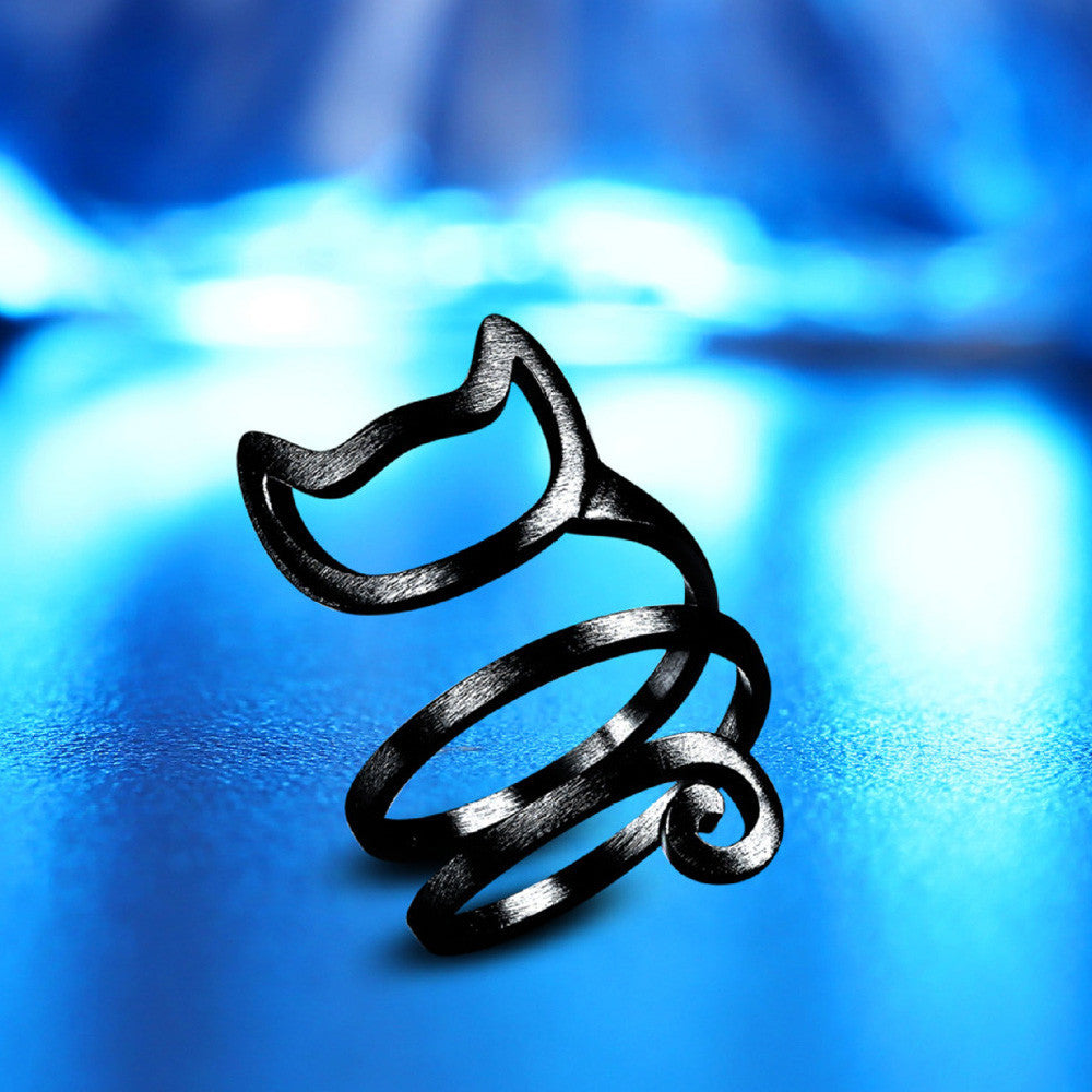 Swirly Goblin Cat Ring