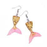 Sparkly Mermaid Tail Drop Earrings