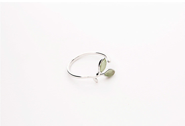 Green Opal Leaf Buds Ring